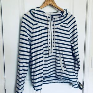 American Eagle Blue & White Striped Sweatshirt